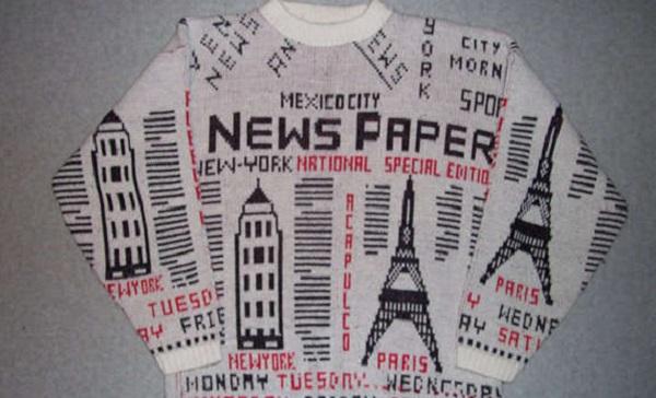 Paperboy Sweater - теплый дизайнерский свитер, оформленный под винтаж