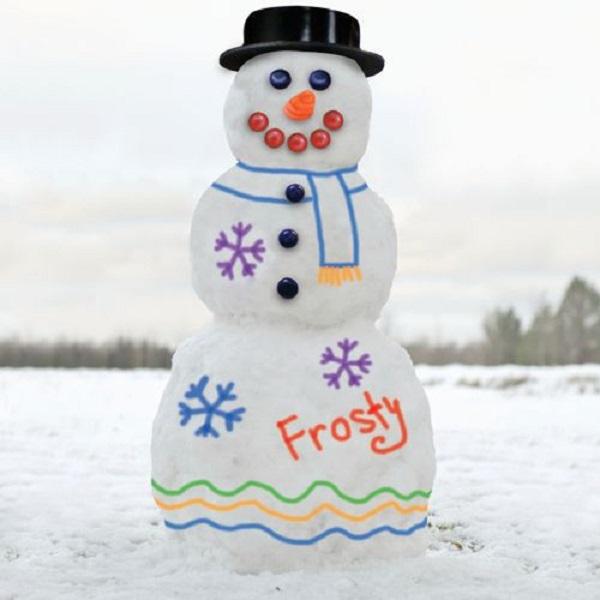 Снеговик, раскрашенный при помощи набора Snowman kit