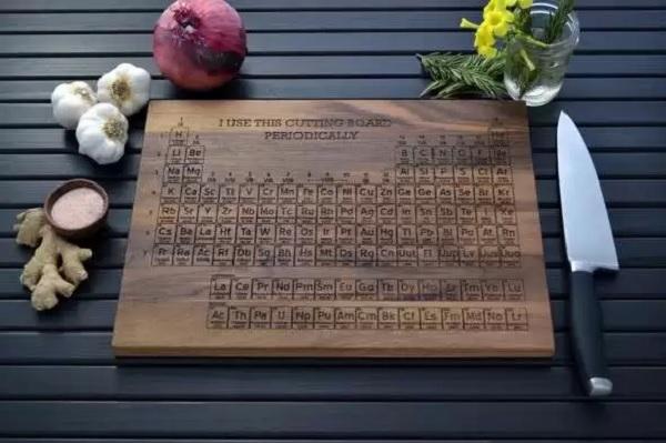 Оригинальная разделочная доска, оформленная в стиле таблицы Менделеева