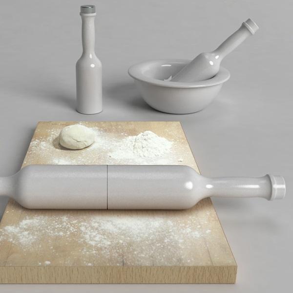 Компактный кухонный набор '3 в 1' - пестик, бутылка, скалка Roll & Mix