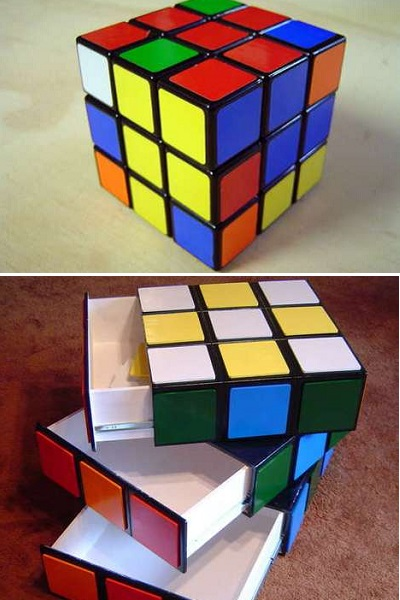 Rubik's Cube Drawer- комод ручной работы, оформленный под кубик He,brf