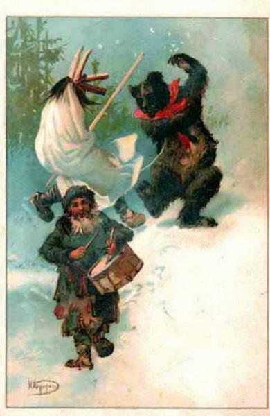 Одна из первых новогодних открыток дореволюционной эпохи от Н. Н. Каразина