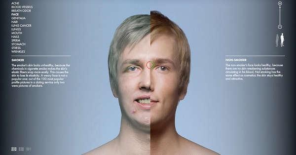 Креативная социальная реклама против курения на финском сайте Tabacco Body