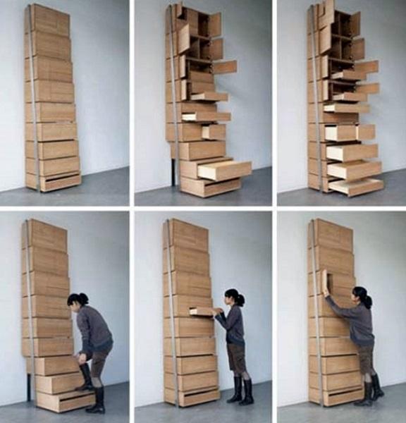 Шкаф-стремянка Staircase Storage Solution- пример оригинальной ступенчатой мебели от современных дизайнеров