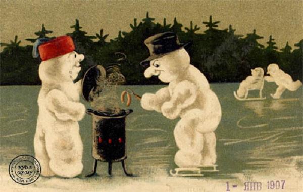 Нестандартная праздничная атрибутика на новогодней открытке дореволюционной эпохи