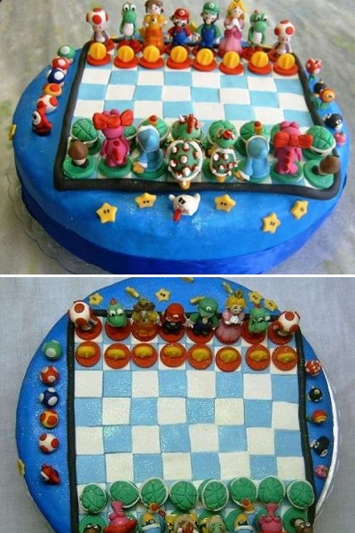 Торт-'шахматы' Super Mario Bros. Cake от Ana Fuji
