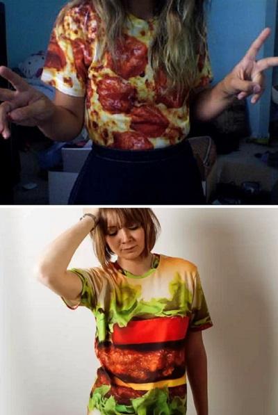 Поднимающие настроение аппетитные футболки для любителей пиццы и гамбургеров