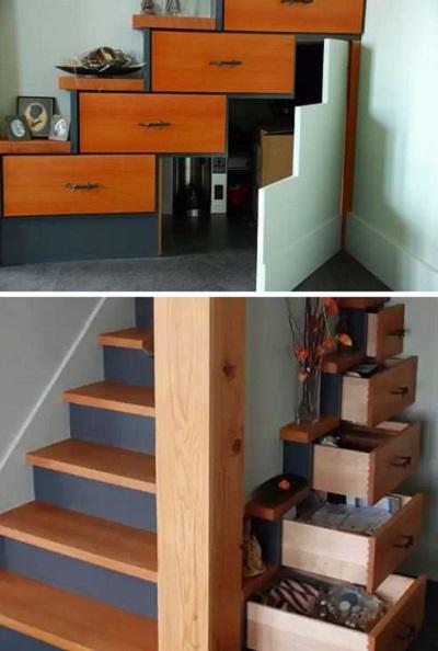 Лестница-шкаф Tansu Chest Stairs - пример оригинальной ступенчатой мебели от современных дизайнеров