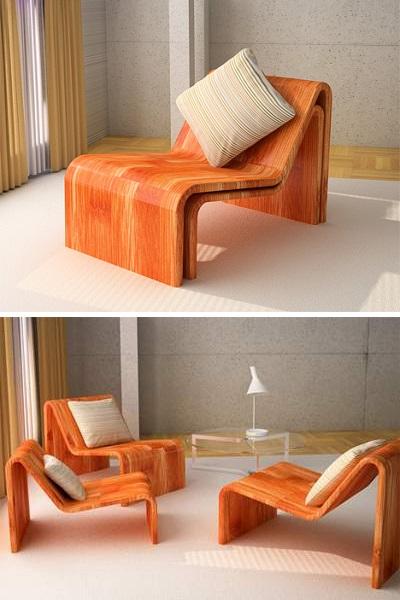 Не посягающий на жилое пространство диван из стульев от Daniel Milchtein Peltsverger