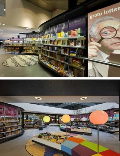 Нидерландская библиотека Almere Library, оформленная как книжный магазин