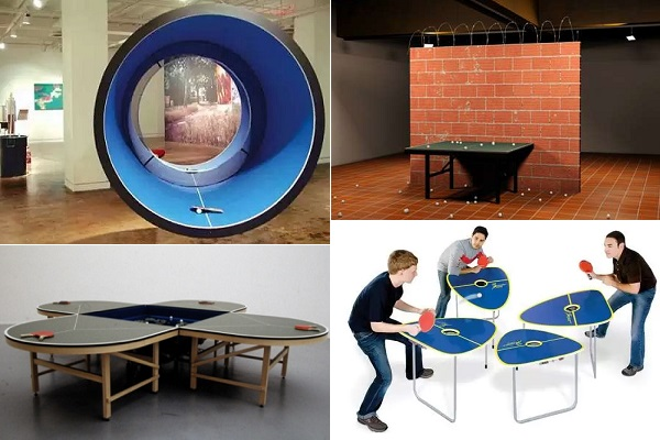 Необычные дизайнерские столики для игры в пинг-понг