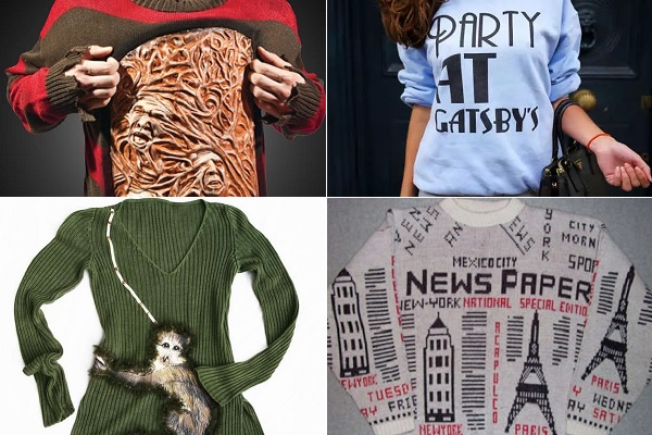 Теплые дизайнерские свитера с креативными принтами