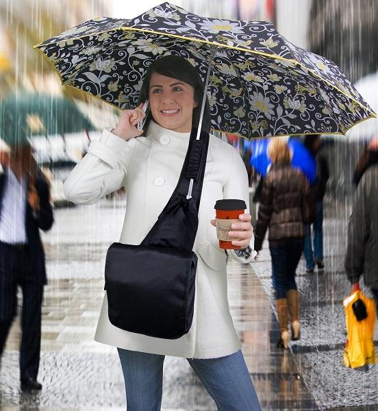 Umbrella Messenger Bag - удобный дизайнерский зонт, позволяющий освободить руки