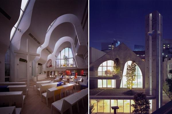 Сверхсовременная протестантская церковь в Токио от Ciel Rouge Creation