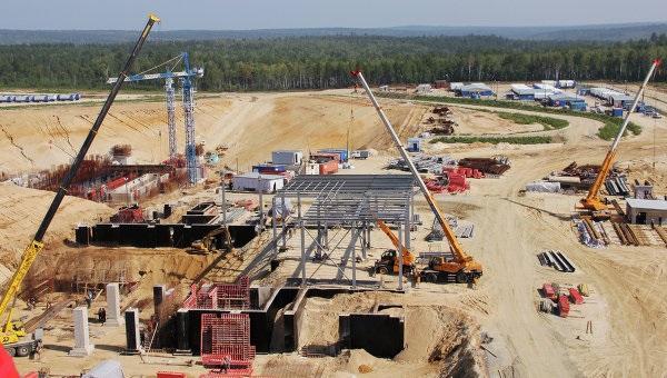 Строительные работы на территории космодрома Восточный