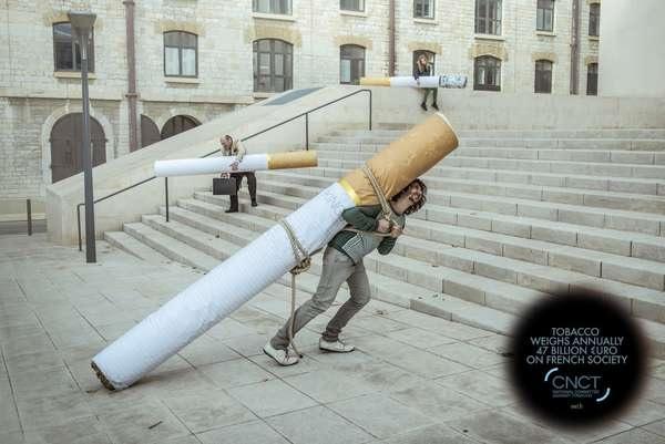 Креативная социальная реклама против курения Weight of Tobacco