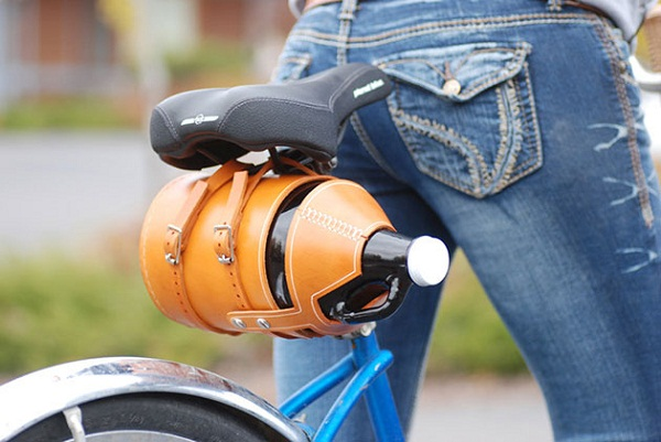 Leather Bike Growler Carrier.
