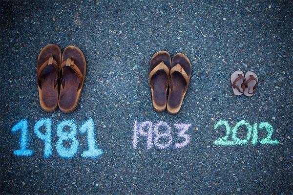 обувь с подписанными датами рождения