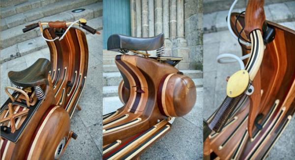 деревянный скутер Vespa от Carlos Alberto