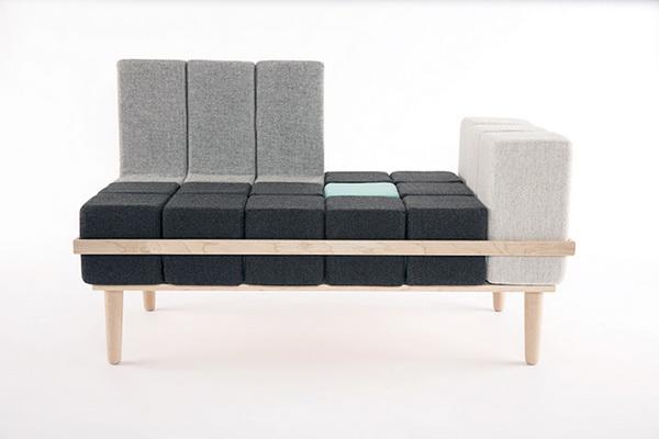 диван Bloc'd: кубики на деревянной основе