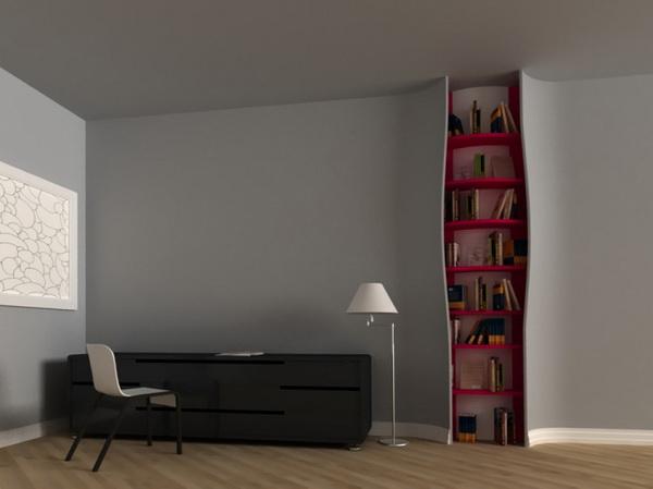 книжная полка, зашитая в стену