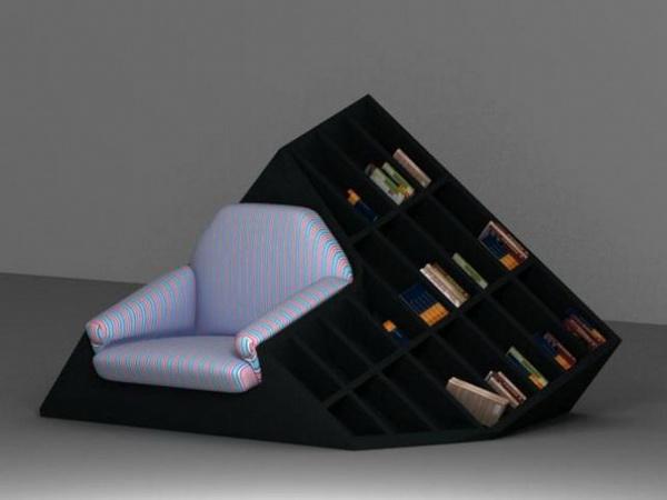 мягкое кресло с книжной полкой