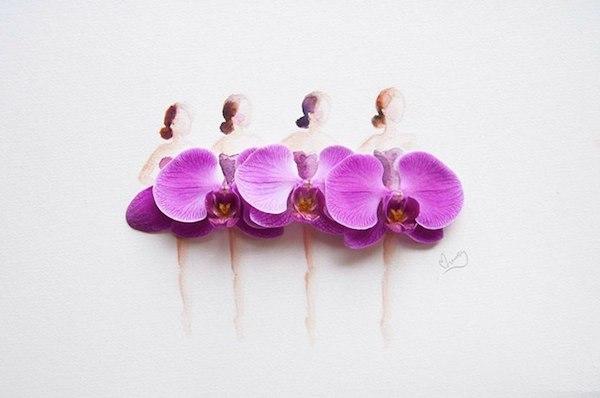 Акварельные девушки в одежде из живых цветов.