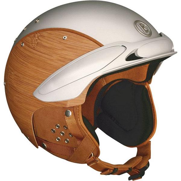 необычный мотоциклетный шлем с деревянными вставками