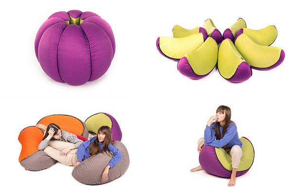 Пуф в форме мандарина