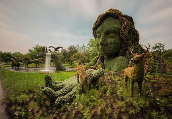 выставка зеленых скульптур Mosaicultures Internationales