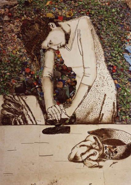 Девушка, нарисованная отходами
