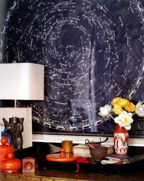 Карта звездного неба на стене