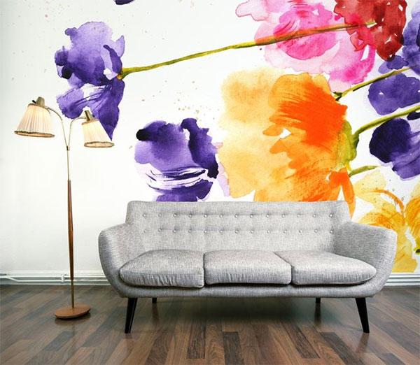 Декор стены обоями с цветами
