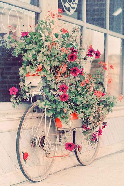 Подставка для цветов из велосипеда