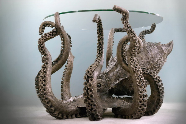 Бронзовый стол Octopus в стиле steampunk