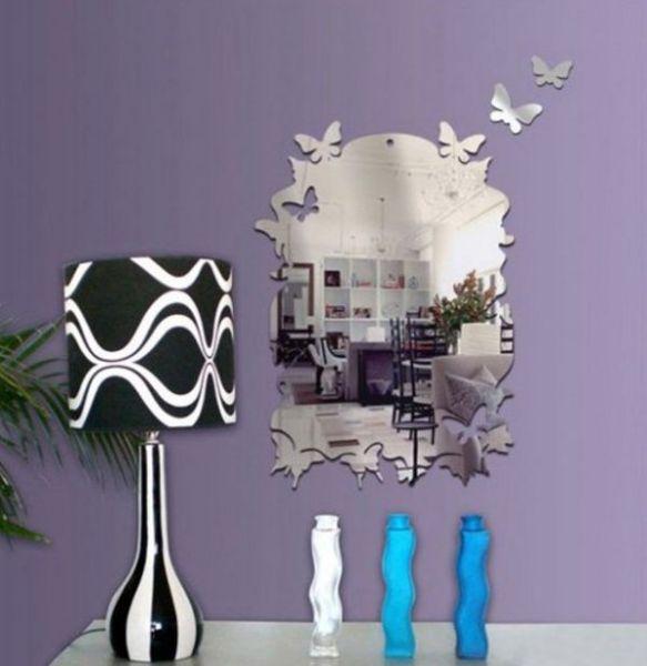 Оформление стены зеркалами