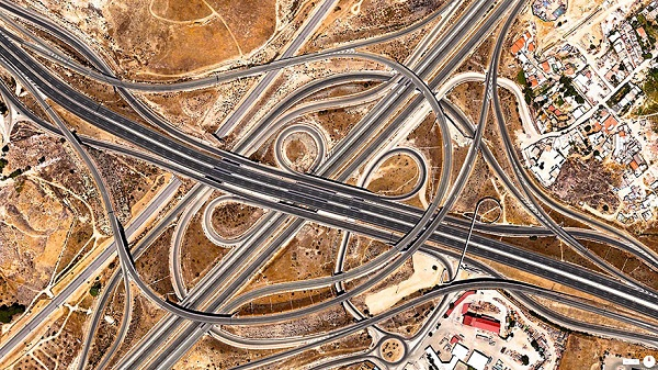 Spaghetti Junction (A-3 and M-50), Madrid, Spain.