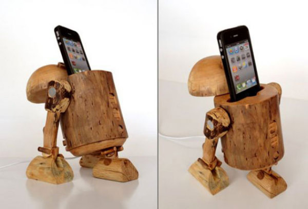 деревянный держатель для телефона на ножках