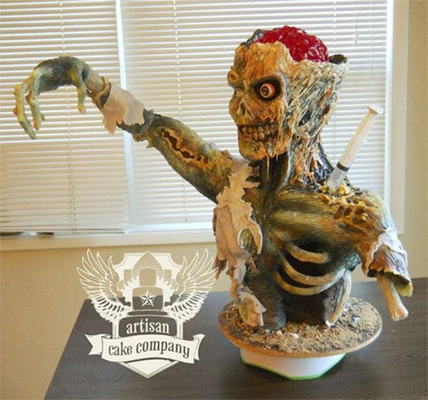 зловещий зомби на торте