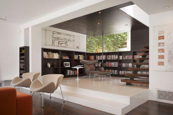 Библиотека как часть гостиной от Griffin Enright Architects