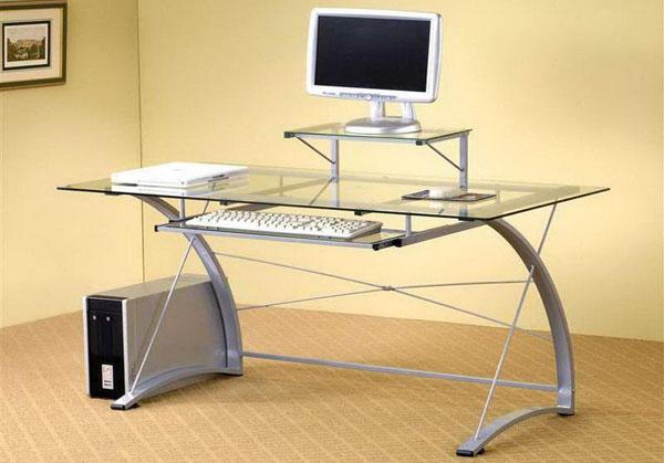 Стильный рабочий стол со стеклянной столешницей