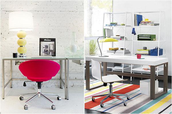 Яркие акценты в интерьере домашнего офиса