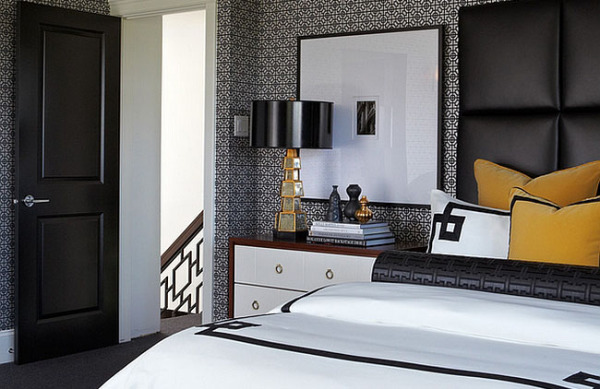 Чёрно-белые спальни с яркими цветовыми акцентами