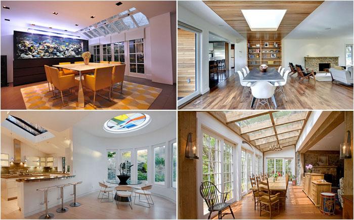 15 стильных столовых с потолочными окнами