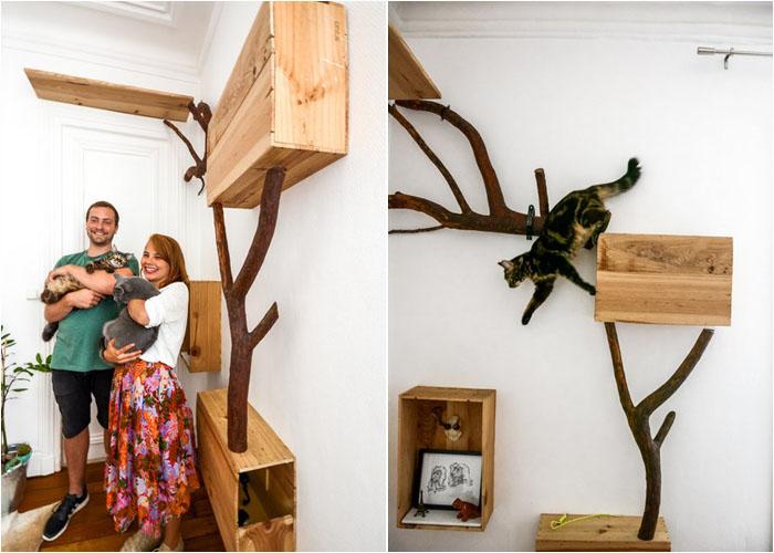 Дом из дерева для кота