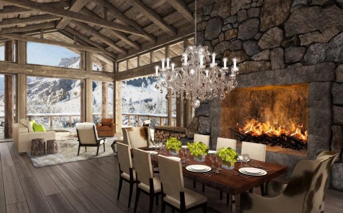 Интерьер небольшого дома в стиле альпийского шале