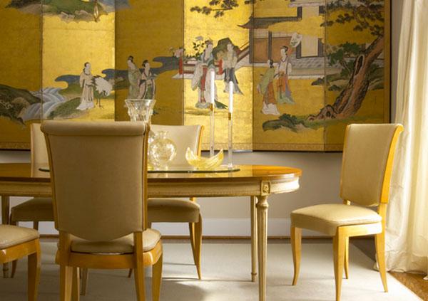 Золотистый комплект мебели для столовой