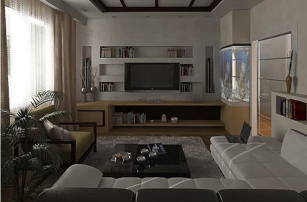 Большой угловой диван в холостяцкой квартире