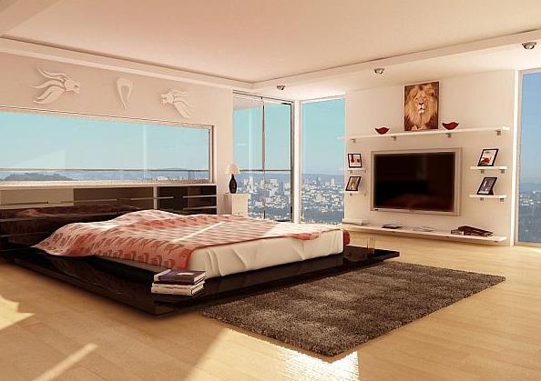 Холостяцкая спальня с видом на город