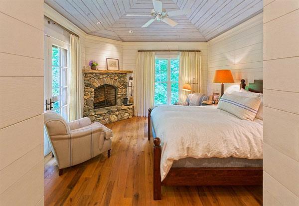 дизайн спальни фото с камином